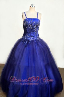 Beading Romantic Spaghetti Straps Tulle and Taffeta Ball gown Royal Blue Little Girl Pageant Dresses Floor-length  Pageant Dresses
