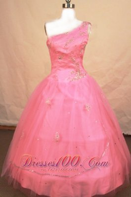 Romantic Ball gown One Shoulder Floor-length Tulle Pink Beading Little Girl Pageant Dresses  Pageant Dresses