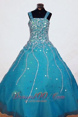 Beading A-line Gorgeous Straps Organza Teal Floor-length Little Girl Pageant Dresses  Pageant Dresses