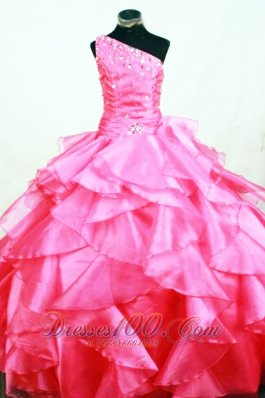 Ruffles Romantic Ball gown Hot Pink Organza One Shoulder Beading Floor-length Little Girl Pageant Dresses  Pageant Dresses