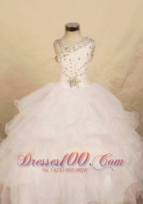 Beautiful White Ball gown Organza One Shoulder Floor-length Beading Little Girl Pageant Dresses  Pageant Dresses