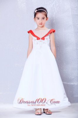 Cheap White and Red A-line Scoop Ankle-length Satin and Organza Embroidery Flower Girl Dress
