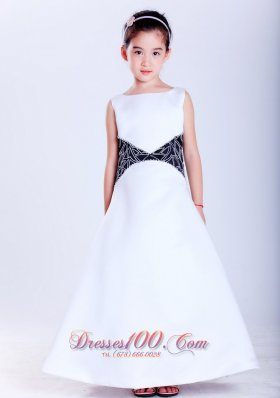 Cheap Beautiful White and Black A-line Scoop Embroidery Flower Girl Dress Ankle-length Satin