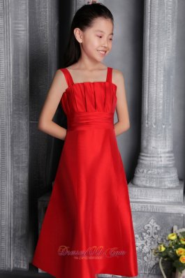 Pretty Red A-line / Princess Wide Straps Tea-length Satin Ruch Flower Girl Dress