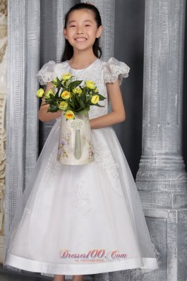 White A-line / Princess Scoop Ankel-length Organza Lace Flower Girl Dress