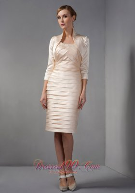 2013 Elegant Champagne Column Mother Of The Bride Dress Scoop Beading and Ruch Knee-length Taffeta