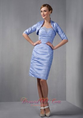 2013 Custom Made Lilac Column Mother Of The Bride Dress Sweetheart Ruch and Beading Knee-length Taffeta