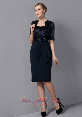 2013 Modest Black Column Mother Of The Bride Dress Strapless Sash Knee-length Chiffon
