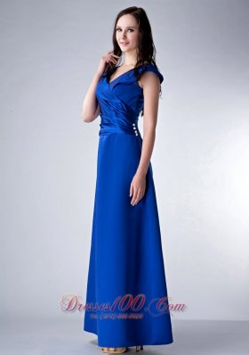 2013 Custom Made Royal Blue Column V-neck Bridesmaid Dress Satin Ruch Ankle-length