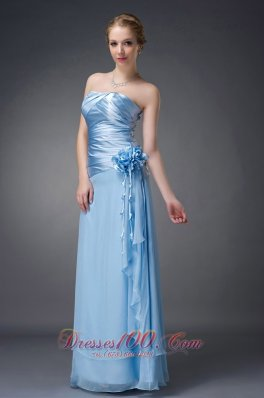 2013 Beautiful Baby Blue Empire Strapless Mother Of The Bride Dress Chiffon Hand Made Flowers Floor-length