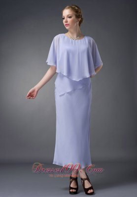 2013 Simple Lilac Column Scoop Mother Of The Bride Dress Ankle-length Chiffon