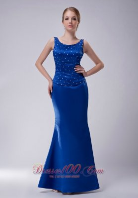 2013 Pretty Royal Blue Column Scoop Mother Of The Bride Dress Taffeta Beading Floor-length