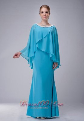 New Custom Made Aqua Blue Column Scoop Mother Of The Bride Dress Chiffon Beading Floor-length