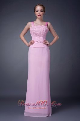 New Customize Baby Pink Column Straps Mother Of The Bride Dress Chiffon Beading Floor-length