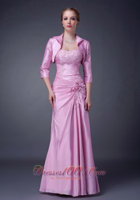 New Exclusive Baby Pink Column Strapless Mother Of The Bride Dress Taffeta Appliques Floor-length