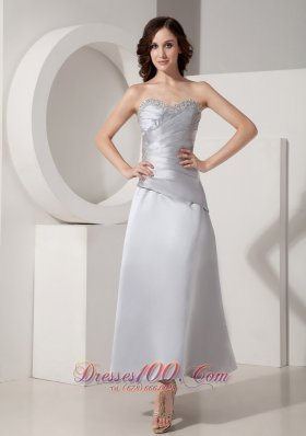 New Modest Silver Ankle-length Mother of The Bride Dress Princess Sweetheart Satin Beading