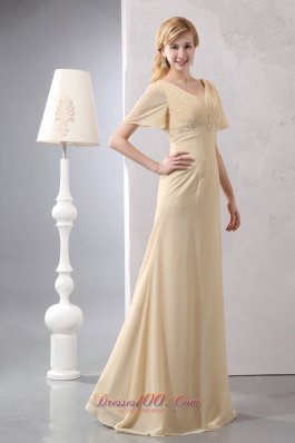 New Modest Light Yellow Empire Prom Dress V-neck Chiffon Beading Floor-length