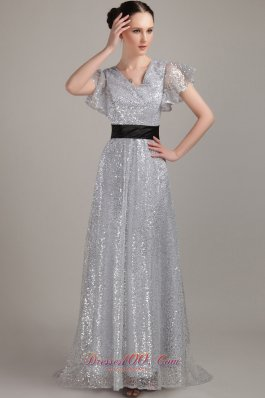 New Silver Empire V-neck Brush Train Sequin Belt Mother of the Bride Dress