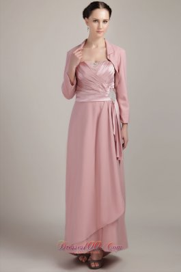 New Baby Pink Column / Sheath Wide Straps Floor-length Elastic Woven Satin Beading Mother Of The Bride Dress