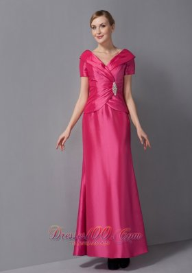 Popular Customize Hot Pink Mother Of The Bride Dress Column V-neck Ruch Ankle-length Taffeta