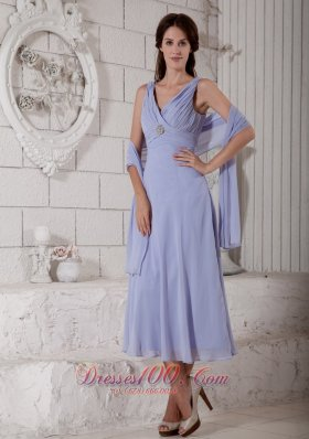 Popular Custom Made Lilac Empire V-neck Mother Of The Bride Dress Tea-length Chiffon Ruch and Beading