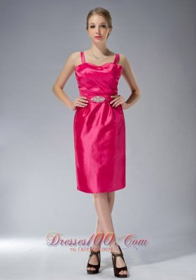 Popular Exclusive Hot Pink Column Straps Knee-length Taffeta Beading Mother Of The Bride Dress