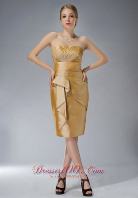Popular Customize Yellow Column Sweetheart Mother Of The Bride Dress Knee-length Taffeta Ruch