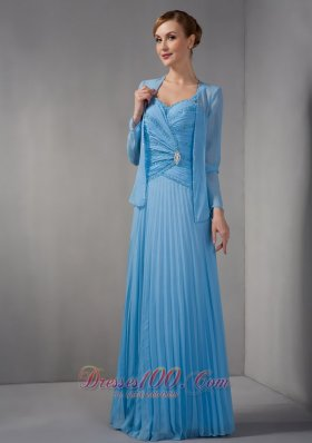 Discount Elegant Teal Empire Mother Of The Bride Dress Straps Appliques Floor-length Chiffon