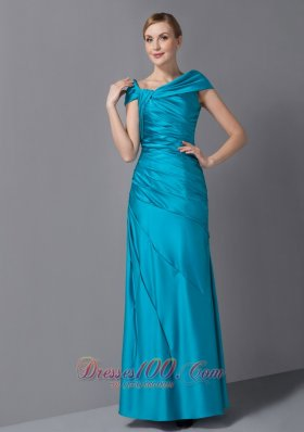 Discount Customize 70's Teal Mother Of The Bride Dress Asymmetrical Ruch Ankle-length