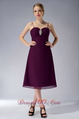 Discount Burgundy A-line Straps Knee-length Chiffon Beading Mother Of The Bride Dress