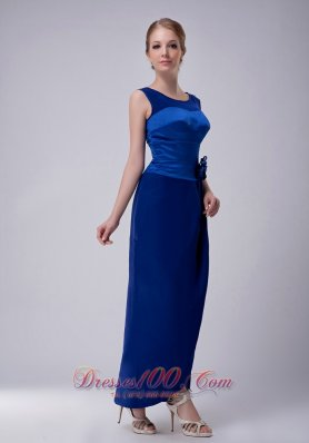 Discount Custom Made Royal Blue Column Bateau Mother Of The Bride Dress Ankle-length Taffeta Hand Made Flower