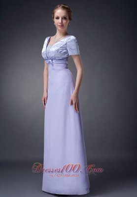 Discount Modest Lilac Column V-neck Mother Of The Bride Dress Chiffon Beading Floor-length