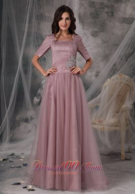 Discount Simple Mother of the Bride Dress Light Pink Column / Sheath Square Tulle Beading Brush / Sweep Train