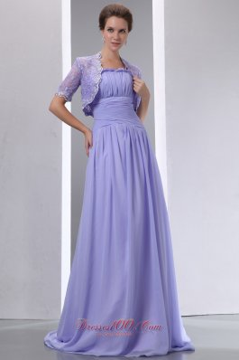 Discount Sweet Lilac A-line Spaghetti Straps Ruch Mother Of The Bride Dress Brush Chiffon