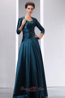 Discount Peacock Green A-line Spaghetti Straps Appliques With Beading Mother Of The Bride Dress Floor-length Taffeta