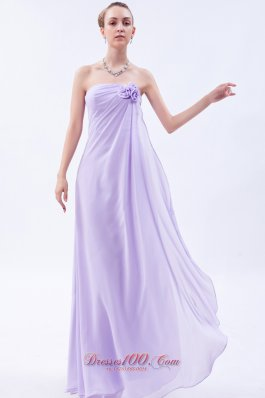 Discount Lilac Empire Strapless Floor-length Chiffon Hand Made Flowers Bridesmaid Dress