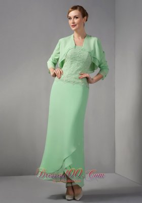 Elegant Popular Apple Green Column Mother Of The Bride Dress Strapless Appliques Ankle-length Chiffon
