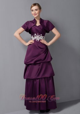 Elegant Cute Dark Purple Mother Of The Bride Dress Column Sweetheart Appliques Ankle-length