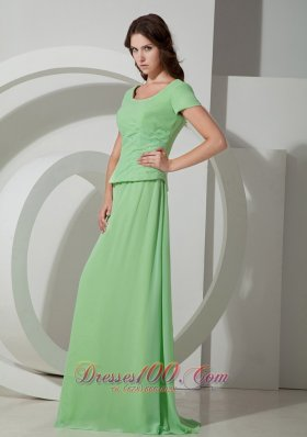 Elegant Beautiful Spring Green Empire Scoop Mother Of The Bride Dress Brush Train Chiffon Beading