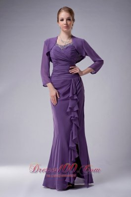 Elegant Custom Made Purple Column Straps Mother Of The Bride Dress Chiffon Beading Floor-length