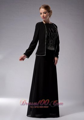 Elegant Custom Made Black Empire Bateau Mother Of The Bride Dress Chiffon Beading Floor-length