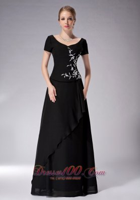 Elegant Popular Black Empire Scoop Mother Of The Bride Dress Chiffon Appliques Floor-length