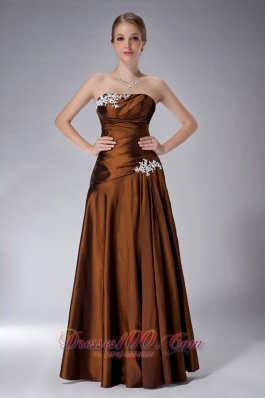 Elegant Beautiful Brown Empire Strapless Mother Of The Bride Dress Taffeta Appliques Floor-length