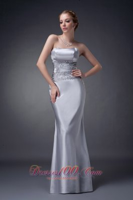 Elegant Customize Silver Column Strapless Mother Of The Bride Dress Elastic Woven Satin Appliques Floor-length