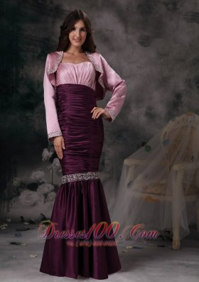 Elegant Custom Made Dark Purple Mermaid Spaghetti Straps Evening Dress Taffeta Beading Floor-length