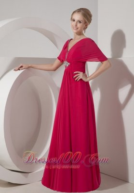 Elegant Customize Coral Red Mother of the Bride Dress Empire V-neck Chiffon Beading Floor-length