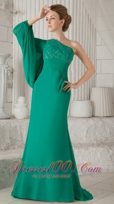 Elegant Turquoise Column One Shoulder Long Sleeve Brush Train Chiffon Beading Mother of the Bride Dress