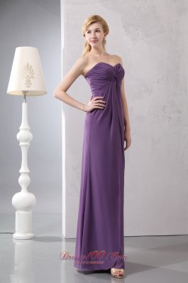 Elegant Beautiful Purple Column Sweetheart Ruch Mother Of The Bride Dress Floor-length Chiffon