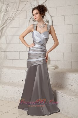 Elegant Elegant Gray and Silver Mother Of The Bride Dress Column Straps Satin Beading Brush Train