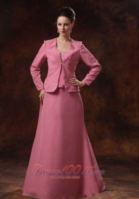 Rose Pink Appliques Decorate Bust Chiffon Mother Of The Bride Dress With Coat For Custom Made In Cumming Georgia